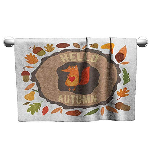 xixiBO Printed Bath Towel Super Dry W39 x L10 Hello,Inspirational Autumn Themed Design with Vintage Fox Illustration Acorns Leaves Heart, Multicolor Charming and Durable and Absorbent - Acorn Wrought Iron Paper Towel