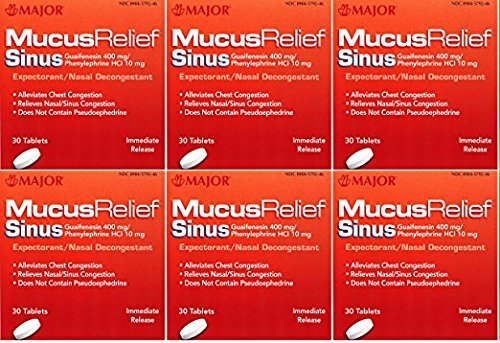 Mucus Relief PE Guaifenesin 400 mg Expectorant and Phenylephrine 10 mg Nasal Decongestant Generic for Mucinex Sinus Tablets 30 ea. Per Bottle Pack of 6 Total 180 Tablets ()