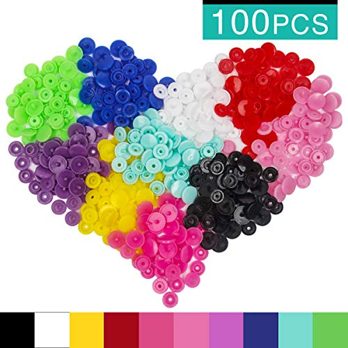 Plastic Snaps Button, Luxiv 100 Sets Clothes Snaps Button Fasteners Size 20 T5 Press Stud 10 Colored Snap Plastic Resin Industrial Snaps No-Sew Button for Crafting Diapers, Clothes, Raincoat (Plastic)