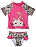 Wippette Girls 2-Piece Rashguard Sun Protection Swimsuit Set, Cheetah Print