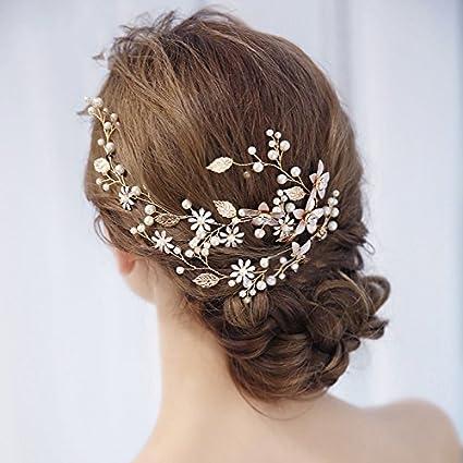 Handmade Jewelry Bridal Tiara Gold Leaf Flower Wedding Hair Band Wedding  Accessories Hair Accessories With Pearl Flower Tassel Headpiece Gold   Energy Class ... 4f440608b955