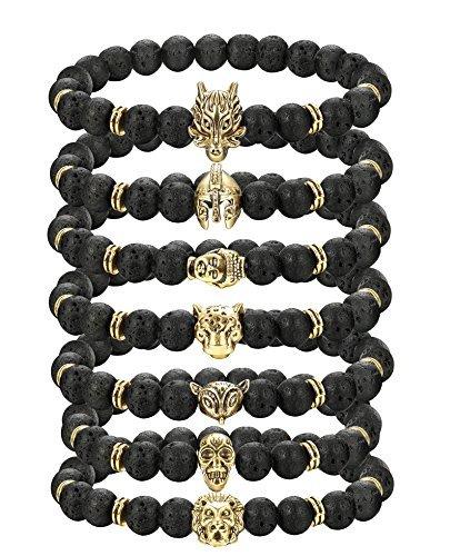 Animal Black Bracelet - Thunaraz Tiger head Budda bracelet for men women Lava
