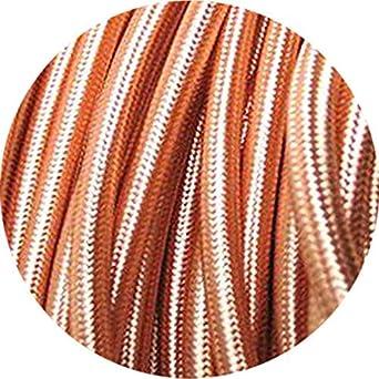 Cable trenzado vintage de 3 n/úcleos flexible 10 metros trenzado de tela trenzada color gris cable de iluminaci/ón de seda