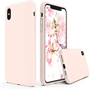 SURPHY Silicone Case Compatible with iPhone Xs Max Case 6.5 inches, Soft Liquid Silicone Shockproof Phone Case (with Microfiber Lining) Compatible with Xs Max (2018) 6.5 inches (Pink Sand)