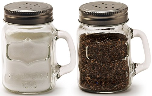 Circleware Mason Yorkshire Jar Mug Salt and Pepper Shakers with Glass Handles and Metal Lids, 5 Ounce, Set of 2 in Gift Box, Limited Edition Glassware (Crystal Footed Tumbler)