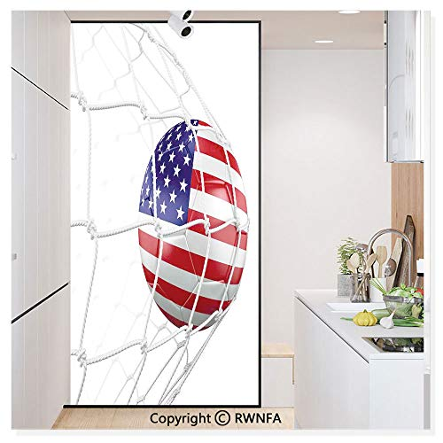 Window Door Sticker Glass Film,USA American Flag Printed Soccer Ball in a Net Goal Success Stylized Artwork Anti UV Heat Control Privacy Kitchen Curtains for Glass,30 x 59.8 inch,
