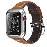 Lwsengme Compatible with Apple Watch Case Frame 42MM with Replacement Leather Band for Men, Steel Metal Bumper and Classic Strap Compatible with Apple Watch Accessories Series 3/2/1 42mm