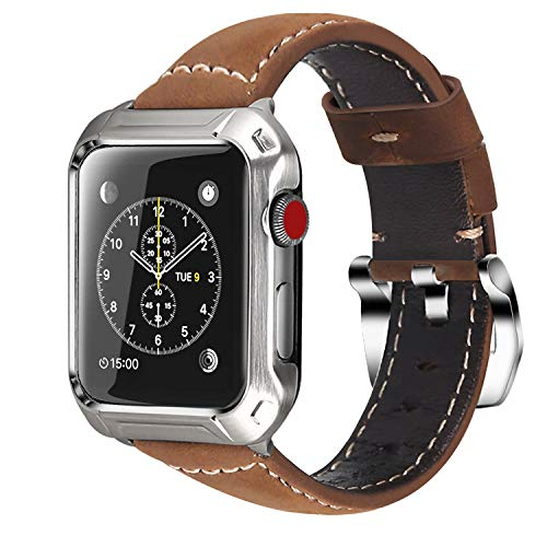 (Lwsengme Compatible with Apple Watch Case Frame 42MM with Replacement Leather Band for Men, Steel Metal Bumper and Classic Strap Compatible with Apple Watch Accessories Series 3/2/1)