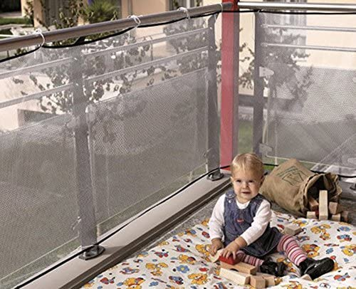 Yeefant Durable and Wear Resisting Stair Safety Balcony Protective Net Small Gridding Protection Installation Balcony Baby Secure Gate,Firm and Effective Protection, 78.7×30.3 Inch, White
