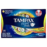 Tampax Pocket Pearl Triplepack (Regular/Super/Super Plus) Plastic Tampons, Unscented, 34 Count, Packaging May Vary