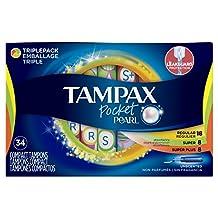 Tampax Pocket Pearl Triple Pack (regular/super/super plus) Plastic Tampons, Unscented, 34 Count