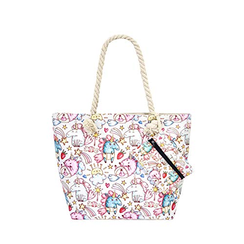 (Canvas Tote Beach Shopping Bag Travel Zipper Shoulder Bag with Pouch Set, Unicorn-3)