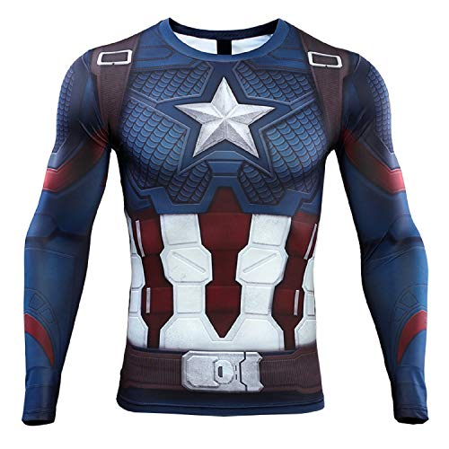 Captain America Men's Compression Shirt 3D Print T-Shirt (X-Large, Blue) ()