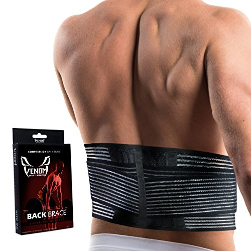 Venom Lumbar Back Brace Compression Belt - Elastic Support & Adjustable Dual Straps, Lower Back Pain, Spasm, Strain, Herniated Disc, Sciatica, Scoliosis, Disc Bulge, Lifting, Men, Women (Large)