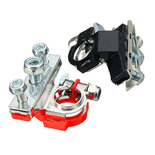 Winnerbe 2pcs Automotive Car Top Post Battery Terminals Wire Cable Clamp Terminal Connectors Black /& Red