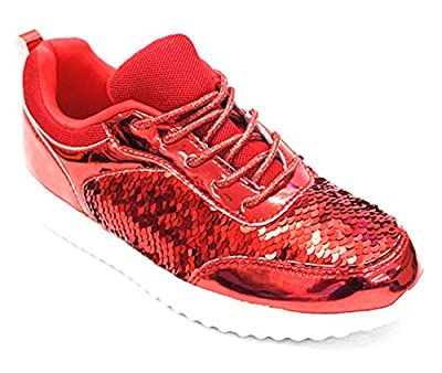SF Forever Link Remy-18 Women's Jogger Sneaker-Lightweight Glitter Quilted Lace Up Shoes New (10 B(M) US, Red-28)
