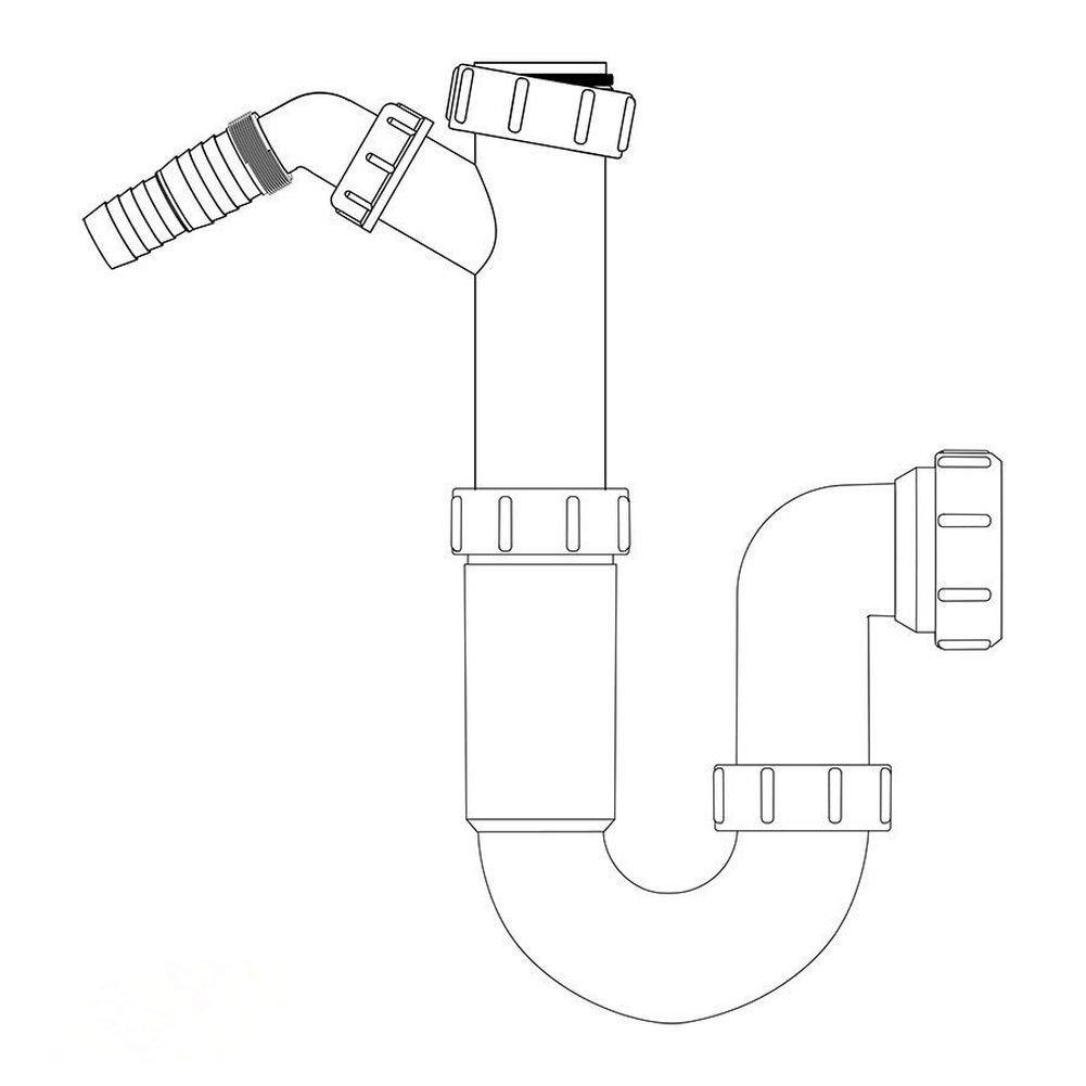 VIVA Kitchen Sink Trap with Dishwasher /& Washing Machine Connections 40mm WTST02