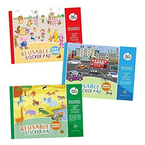 Jar Melo Reusable Sticker Pad; Great Assorted: 3 Packs - Animal World; City Park; Urban Transport; Over 408 Stickers; Separated Scenes