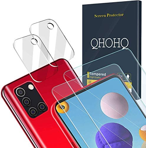 QHOHQ 2 Pack Screen Protector for Samsung Galaxy A21S with 2 Packs Camera Lens Protector, Tempered Glass Film, [9H Hardness] – HD – [2.5D Edge] – [Anti-Fingerprint] – [Anti-Scratch]