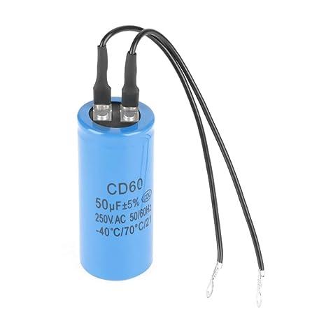 DGTRHTED Condensador - CD60 Condensador de Funcionamiento con Cable 250V AC 50uF 50 / 60Hz para