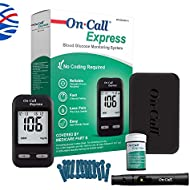 On Call Express Diabetes Testing Kit- Blood Glucose Meter, 10 Blood Test Strips, 1 Lancing Device, 30g Lancets, Control Solution, Carrying Case, Log Book