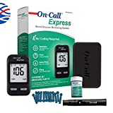 On Call Express Diabetes Testing Kit- Blood Glucose Meter, 10 Blood Test Strips, 1 Lancing Device, 30g Lancets, Control Solution, Carrying Case, Log Book, Black