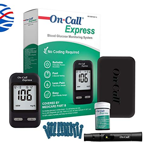 On Call Express Diabetes Testing Kit- On Call Express Blood Glucose Meter, 10 Blood Test Strips, 1...