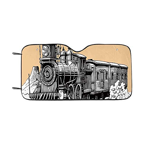 Steam Engine Durable Car Sunshade,Vintage Wooden Train Rail Wild West Wagon in Countryside Drawing Effect Artsy for car,55