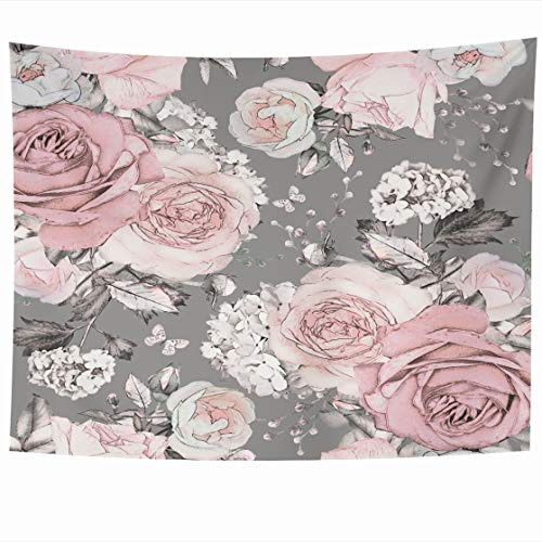 Tapestry Franciscan - AlliuCoo Wall Tapestries 60 x 50 Inches Abstract Pink Flowers Leaves Gray Watercolor Floral Pattern Rose Pastel Color Artistic Home Decor Wall Hanging Tapestry Living Room Dorm