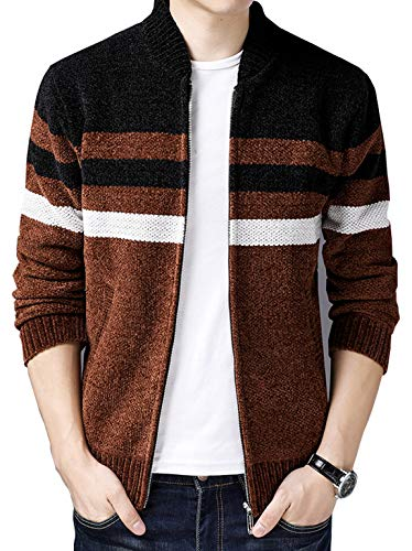 Yellow Stripe Sweater - HOW'ON Men's Casual Wide Stripes Zipper Knitted Cardigan Sweater Lily Orange Yellow S
