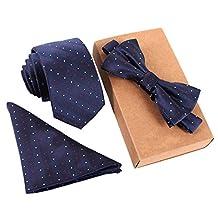 3pcs Set Sense Men's Polka Dot Jacquard Wedding Party Self Bow Tie Pocket Square Set Blue