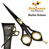 Saaqaans SQR-01 Professional Hairdressing Barber Scissor - Stainless Steel Sharp Razor Edge 6 inches Hairdresser Shears for Stylish Hair Cutting in Beautiful Black Scissors Pouch/Case