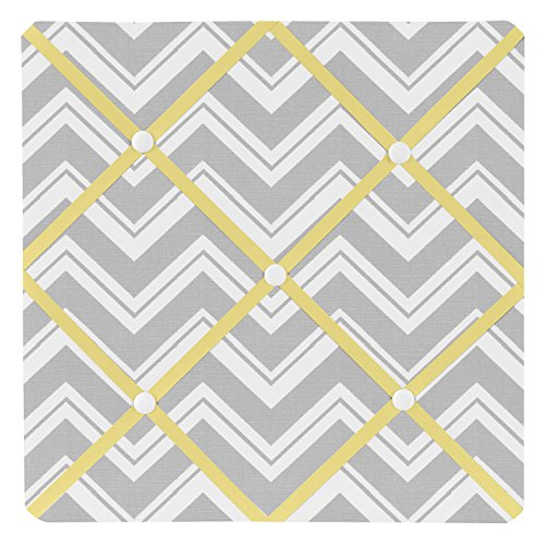 Sweet Jojo Designs Yellow and Gray Chevron Zig Zag Fabric Memory/Memo Photo Bulletin Board by Sweet Jojo Designs