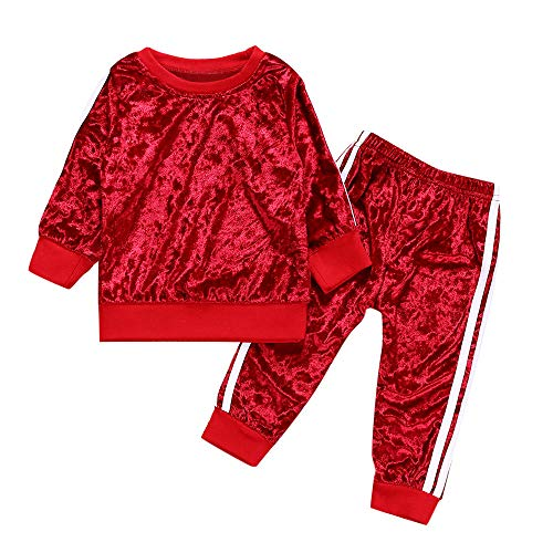 Tantisy ♣↭♣ Little Girls Suede Pajama Outfit Long Sleeve Tops + Long Pants Keep Warm Comfy Casual Clothes Age 12M-4T Red