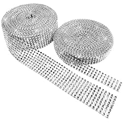 BTSD-home 1 Roll 4 Row 10 Yard and 1 Roll 8 Row 10 Yard Acrylic Rhinestone Diamond Ribbon for Wedding Cakes, Birthday Decorations, Baby Shower Events, Arts and Crafts Projects (2 Rolls, Silver)