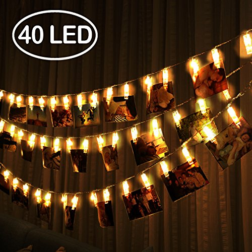 40 LED Photos Clips String Lights Battery Operated (16.5ft. Warm White) Fairy Christmas String Lights for bedroom Hanging Photos, Cards and Artworks by R • - Chic Dorm