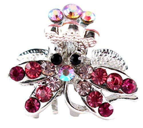 Crystal Small Dragonfly Hair Clip - Pink ()