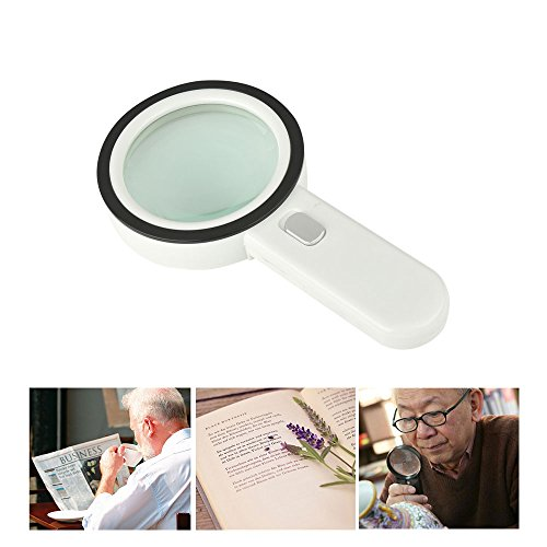 20X Handheld LED Lighted Magnifier Battery Powered High Power with 12 LED Illuminated Magnifying Glass for Antique Jewelry Appreciation Reading (Cart Print Battery)