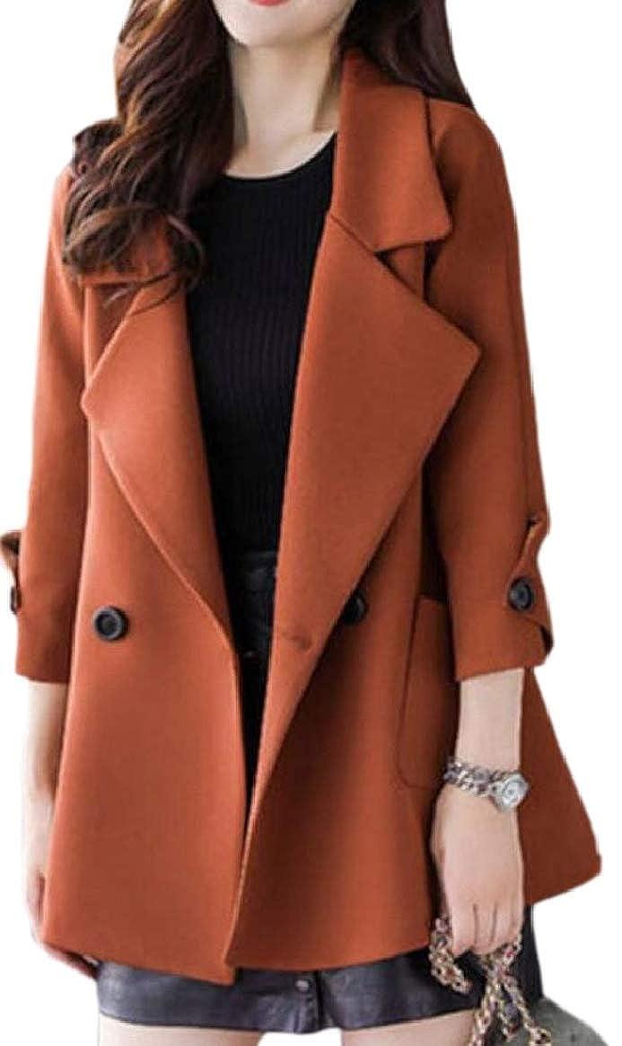 2 pujinggeCA Women Casual Double Breasted Wool Blend Loose Pea Coat Overcoat