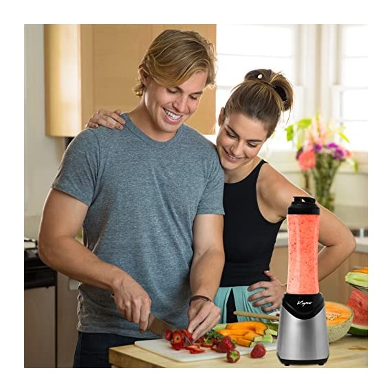 Personal Blender With Travel Lid - 21oz Portable Sports Bottle - Single Serve - by Keyton 5 SLEEK DESIGN: The modern, streamlined design of this personal, single serve blender will look great in your kitchen and complement any décor EASY TO USE: This powerful blender only requires one touch and can function completely hands free. It is dishwasher safe too for easy cleanup PORTABLE: Take your shake or smoothie to go. The sports lid makes it easy to take on the road to the office, gym or class, in the car or in your bag