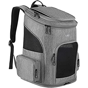 Dog Carrier Backpack, Pet Carrier Bag with Mesh for Small Dogs Cats Puppies, Comfort Cat Backpack Bag Airline Approved for Hiking Travel Camping Outdoor Hold Pets Up to 18 Lbs, Grey 18