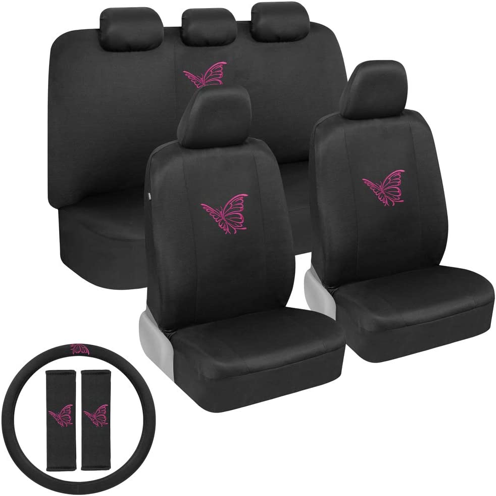 BDK Pink Butterflies Car Seat Covers Full Set with Steering Wheel Cover and Seat Belt Pads – Front and Rear Covers with Matching Embroidered Accessories, Universal Fit for Cars Trucks Vans SUVs