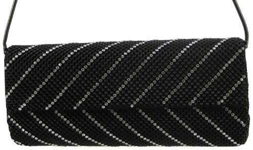 Whiting & Davis  Crystal Chevron Flap Clutch,Black,One - Davis Bags Evening Whiting