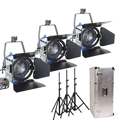 Alumotech Dimmer Built-in Fresnel Tungsten 1000Watt X3+ Air Cushioned Stand +Aluminium case 3300W Spotlight Halogen Lamp Studio Video Light Kit For Camera Photographic Lighting Compatible Bulb