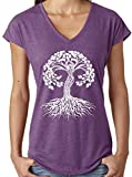 Yoga Clothing For You Ladies White Celtic Tree V-Neck Tee, XL Heather Aubergine For Sale