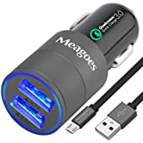 Meagoes Quick Charge 3.0 Rapid USB Car Charger(30W/6A) with 1-Pack 3.3ft Micro-USB Cable for Samsung Galaxy S7 Edge/S7/S6 Edge/S6+/S6/S5/Note Edge/5/4, Sony Xperia, Moto X, Sharp Aquos, LG, HTC - Gray