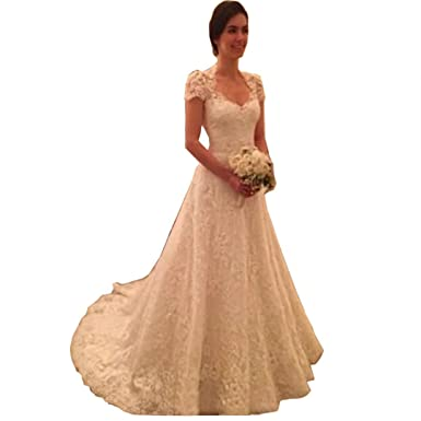 c790a32364764 DingDingMail Fancy Square Neck Lace Vintage Wedding Dresses Cap Sleeves  Long Bridal Gowns Church A Line