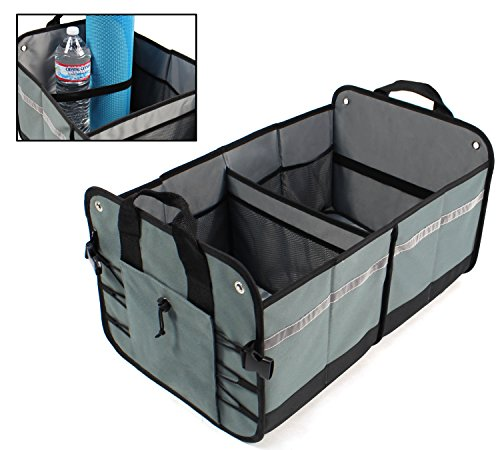 LK Baby Car Trunk Organizer Cargo Container for your Auto SUV Minivan Car and Truck Collapsible Foldable for Easy Storage in Grey