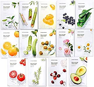 Nature Republic Real Nature Mask Sheet (14 type), Nature made Freshly packed Korean Face Mask, Natural Plant Extract (Pack of 14) [RENEWAL]: Amazon.es: Belleza