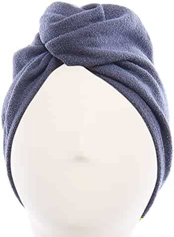 Aquis - Original Hair TURBAN, Patented Perfect Hands-Free Microfiber Hair Drying, Dark Grey (10 x 26 Inches)